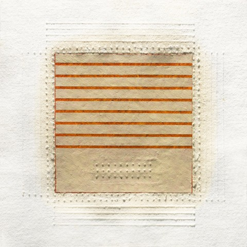 Eleanor Wood - <b>Realignments Series #1</b>, 2013, watercolor, waxed paper and oil on cotton paper, 10.5 x 10.5 inches