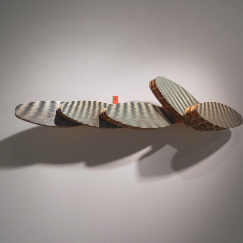 Dean DeCocker - <b>Last Waves</b>, 2012, acrylic paint, metal, powder coat and wood, 13 x 60 x 17 inches