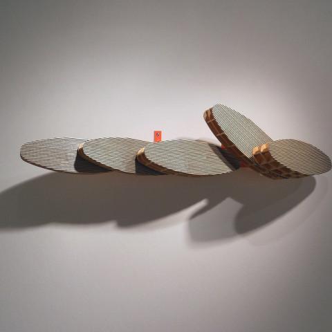 Dean DeCocker - <b>Last Waves</b>, 2012, acrylic paint, metal, powder coat and wood, 13 x 60 x 17 inches