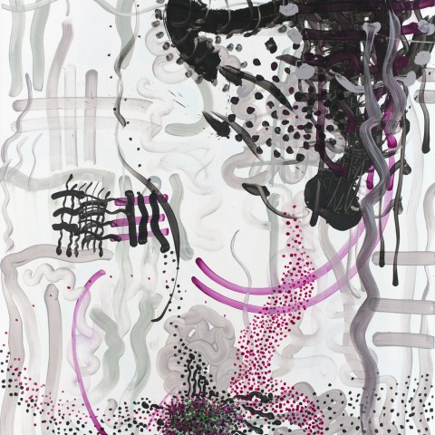 Peter Wayne Lewis - <b>Purple Mania</b>, 2010, Acrylic on Linen, 216 x 183 centimeters