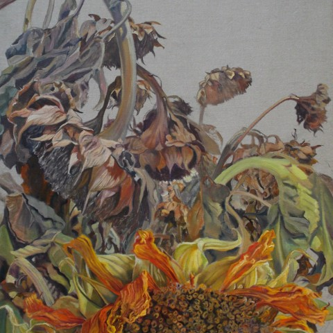 Mary Warner - <b>Study</b>, 2013, oil on sized linen, 26 x 40 inches, Sunflower Series