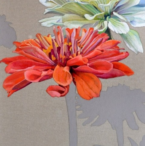 Mary Warner - <b>Two Zinnias</b>, 2012, oil on linen, 24 x 48 inches