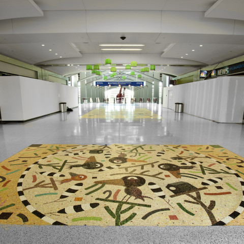 Suzanne Adan - <b>Flying Colors</b>, 2011, glass mosaic floor, 18 x 24 feet, Sacramento International Airport, Sacramento Metropolitan Art Commission