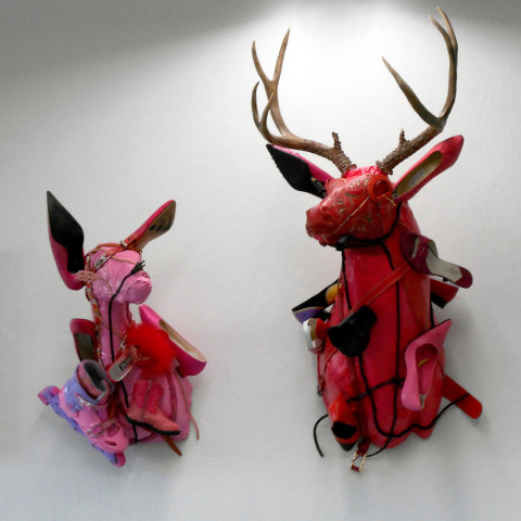 Ken Little - <b>Pink Doe, 2009, mixed media, 28 x 15 x 20 inches; <b>Big Red Buck</b>, 2007, mixed media, 48 x 24 x 24