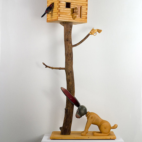 Michael Stevens - <b>Cliff Doesn't Live Here Anymore</b>,  2006, pine enamel and plastic, 66 x 33 x18 inches