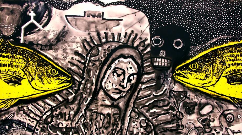 "Butting Heads, 2014, acrylic on canvas, 62"" x 110"""